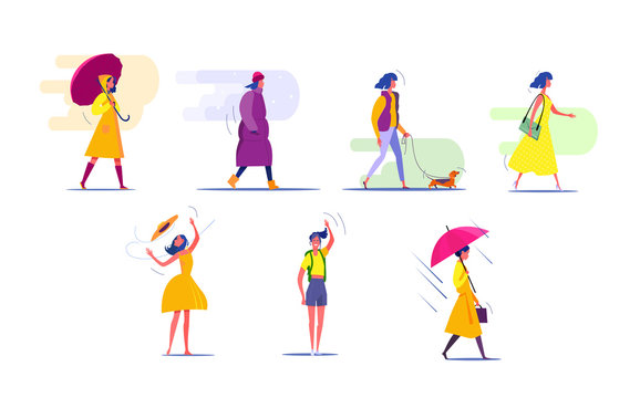 Woman in different seasons set. Woman walking, standing, wearing different clothes. People concept. Vector illustration for topics like activity, leisure, actions