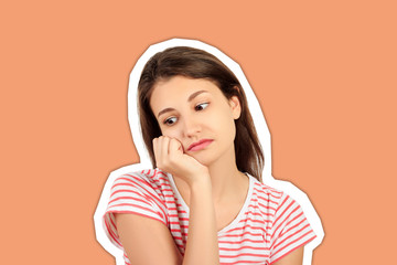 young beautiful sad woman. worried and depressed girl. emotional girl Magazine collage style with trendy color background