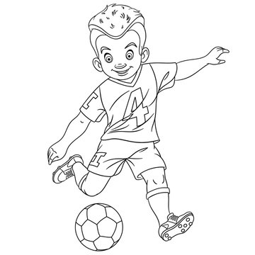 coloring page with footballer, football player