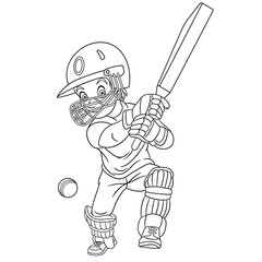 coloring page with cricket player, cricketer