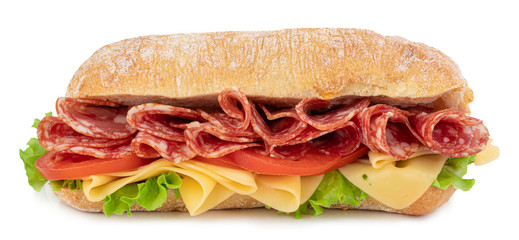 Stores à enrouleur Snack Ciabatta sandwich with lettuce, tomatoes prosciutto and cheese isolated on white background