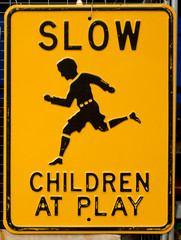 Worn Slow Children At Play Sign