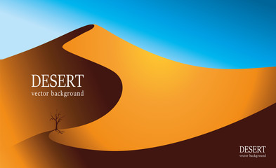 Vector image of the desert. An old tree stands in the middle of the desert. Vector background