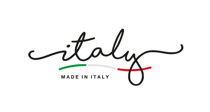 Made in Italy handwritten calligraphic lettering logo sticker green white red flag ribbon banner line design