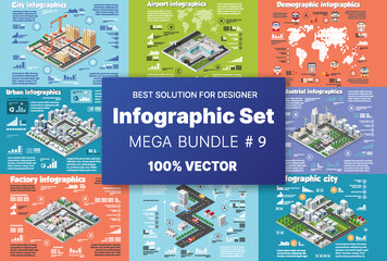 Isometric set infographics concept of blocks