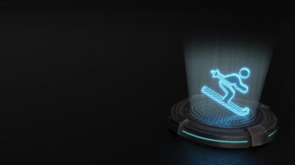 3d hologram symbol of skiing icon render