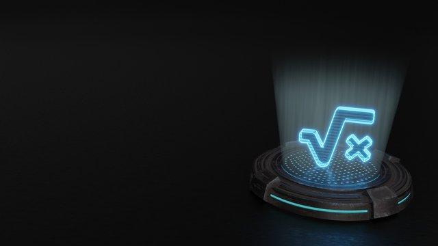3d hologram symbol of square root  icon render