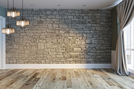 modern bright empty interior design, stone wall and large window with balcony. 3D rendering