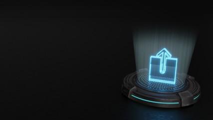 3d hologram symbol of upload icon render Wall mural