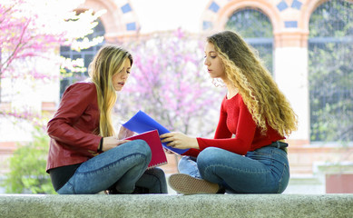 Two students studying together sitting on a bench outdoor