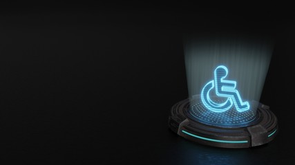 3d hologram symbol of wheelchair icon render