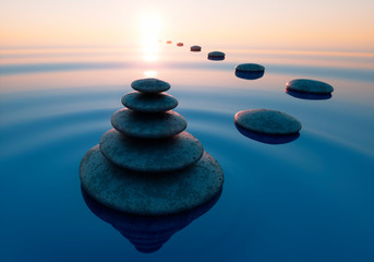 Obraz Stack of stones in calm water in the wide ocean - concept of meditation - 3D illustration - fototapety do salonu