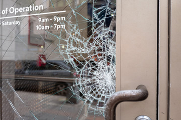 Broken glass door window
