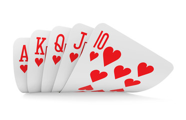 Royal Flush Playing Cards Isolated