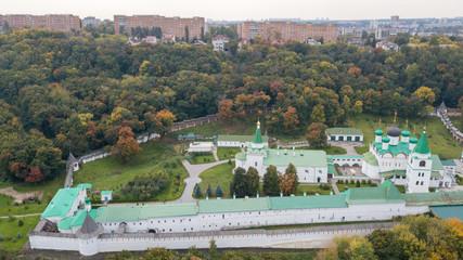 Bird's-eye view of the ascension Pechersk monastery in Nizhny Novgorod