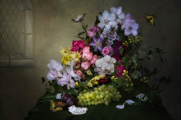 Still life with magnificent bouquet in Baroque style