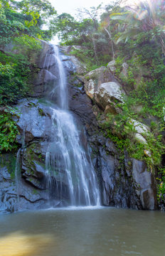 September 21,2019:Puerto Vallarta ,Waterfall in Yelapa,tropical beach in Yelapa, Puerto Vallarta, Mexico.