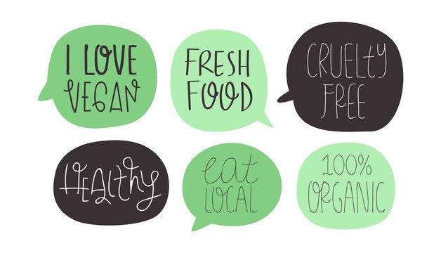 Green vegan and vegetarian healthy food quote set