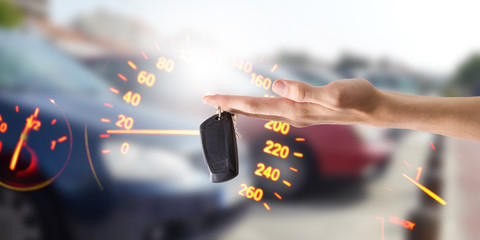 hands with keys or car control, buy car