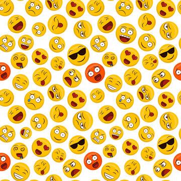 Fun emoticon seamless pattern yellow smiley face