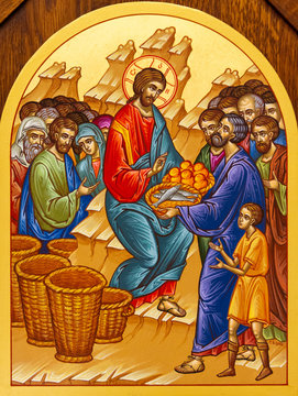 Secovska Polianka, Slovakia. 2019/8/22. The Icon of the Multiplication of the Loaves and Fishes – Feeding the Multitude. The church of Saint Elijah.