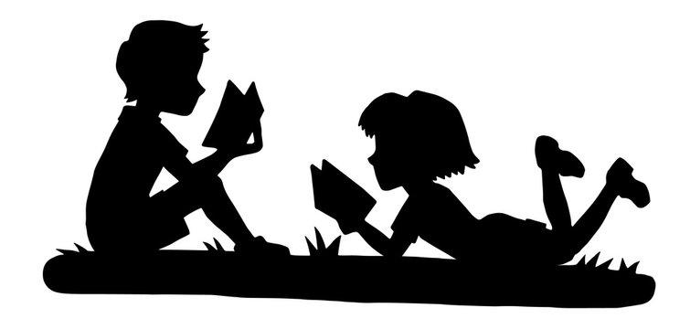Reading Kids Silhouette