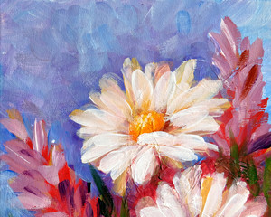 Wild meadow flower daisy bouquet oil painting