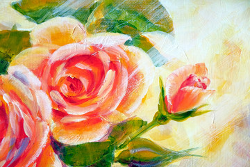 Bush of sunny roses, oil painting on canvas