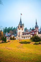 Beautiful Peles Castle in Sinaia, Carpathian Mountains, Romania, Europe.