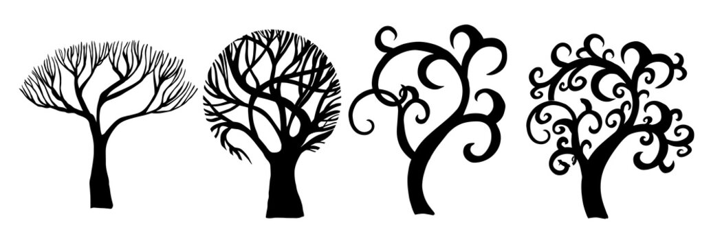 Set of beautiful stylized trees. Vector illustration