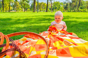 Little child in a park on green grass on a litter in a straw basket.