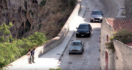 An Aston Martin DB5 is seen during a car chase on the set of the new James Bond movie 'No Time to Die' in Matera