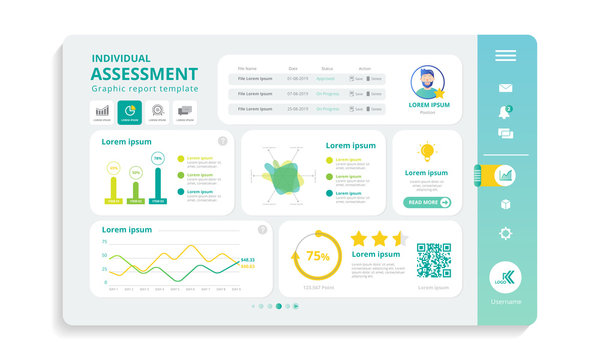 Web panel for individual assessment in infograpic template