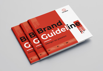 Brand Guideline Booklet Layout with Red Accents