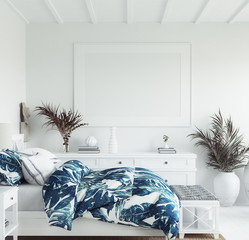 Mock up frame in white cozy tropical bedroom interior, Coastal style, 3d render