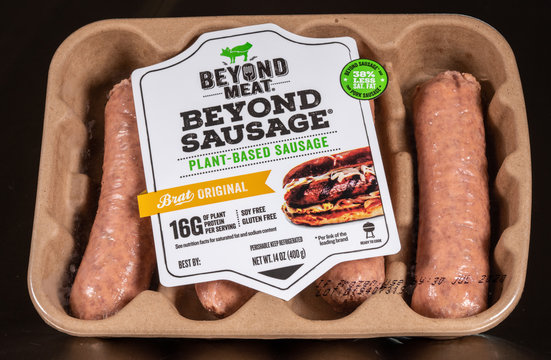Beyond Meat plant based sausages in package of four links