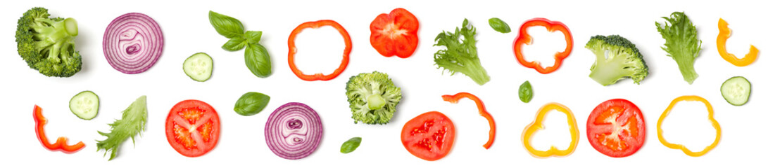 Photo sur Plexiglas Légumes frais Creative layout made of tomato slice, onion, cucumber, basil leaves. Flat lay. Food concept. Vegetables isolated on white background. Banner.