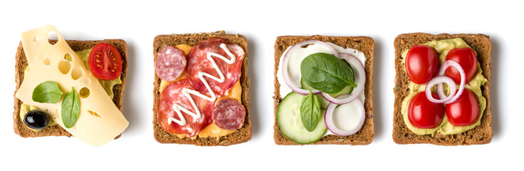 Foto auf AluDibond Fastfood Collection of Open faced Sandwich crostini isolated on white background closeup. Set of Appetizer tartarine. Top view. Flat lay.