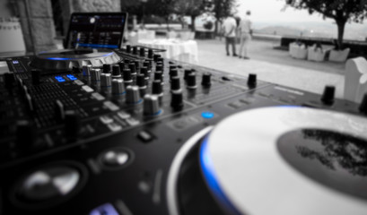 Event DJ setup, Controller with Laptop, ready for work.