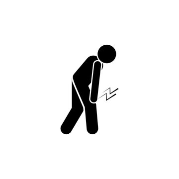 Stick figure, pain, leg icon. Element of amyotrophic lateral sclerosis icon