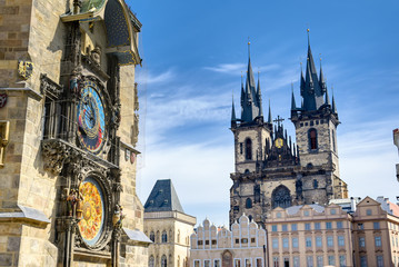 Aluminium Prints Prague The Prague Astronomical Clock located at the Old Town Hall and the Church of Our Lady before Tyn in Prague, Czech Republic.
