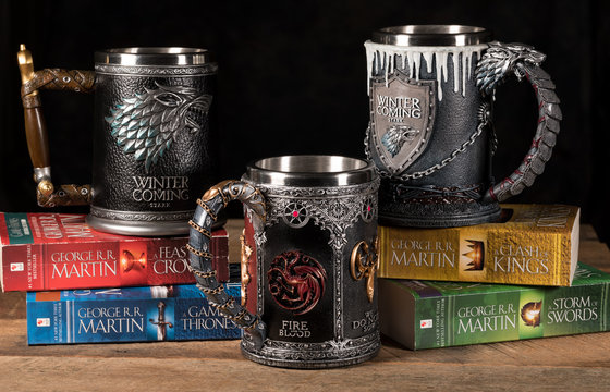 Three official House Stark tankards from Game of Thrones series