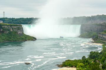 Lanscape view of Horseshoe Niagara Falls from the Ontario, Canadian side