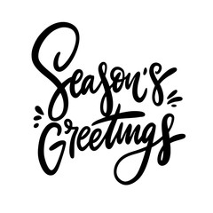 Seasons Greeting phrase hand drawn vector illustration. Isolated on white background.
