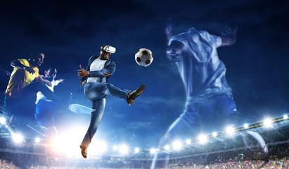 African man in virtual helmet . Mixed media