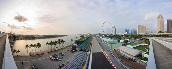 Singapore Formula One Circuit and cityscape at sunrise