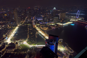 Singapore Formula One Circuit and cityscape at night