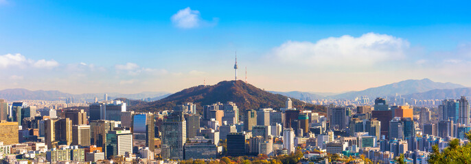 panorama view of  Seoul South Korea City Skyline with seoul tower.