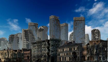 Obraz Ruins of a city apocalyptic landscape 3d illustration concept - fototapety do salonu