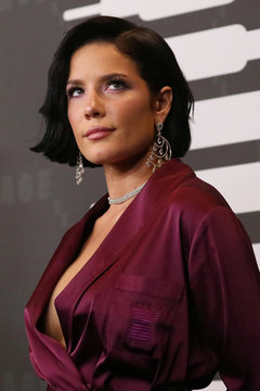 Singer Halsey poses on the red carpet of Rihanna's new Savage X Fenty collection show for New York Fashion Week at the Barclays Center in the Brooklyn